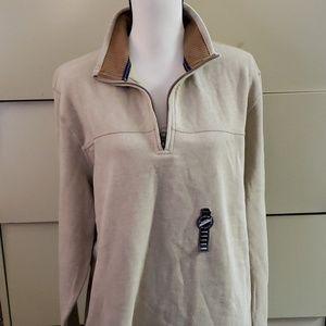Oatmeal Heather Mens 1/4 Zip Saranac Sweater